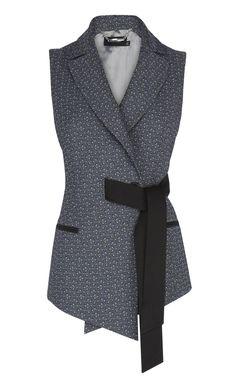 Italian geometric jacquard belted waistcoat, with contrast flattering tie waist detail
