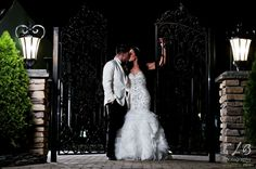 Moonlight Bridal Real Bride Shannon in a beaded mermaid wedding gown with ruffle skirt