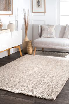 nuLOOM Natura Chunky Loop Jute Off-White 10 ft. x 14 ft. Area – The Home Depot – jute Rugs living room Jute Rug Living Room, Grey Rugs, Woven Rug, Living Room Carpet, Handwoven Rugs, White Rug, Rustic Rugs, Rugs Usa, Jute Rug