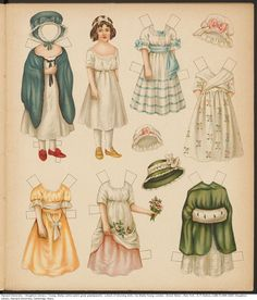 Houghton Library paper dolls 19th century