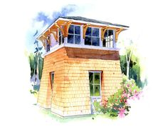 The Tower Studio is a small cabin with a garage on the lower level and a comfortable living unit on the second floor. A stove keeps things cozy while living above the fray. Oversee your land or enjoy a far vista from your own tower. This design could work well as a guest house or small starter.
