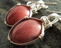 Rose Pink Gemstone, Rhodonite Stone Earrings in Sterling Silver