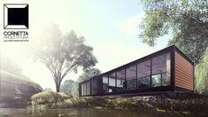 Projeto para casa de campo tipo loft em estrutura metálica. Acesse: cornettaarquitura.com.br  #cornetta #arquitetura #architecture #loft #prefab #steel
