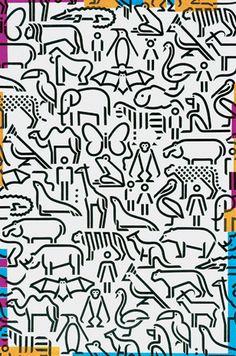 Diversity, poster, 2000. Icons developed for Cincinnati Zoo identity    Robert Probst