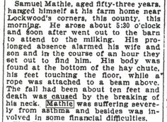 1896 obituary #2 for Samuel Russell Mathie, my great-great-grandfather. This occurred in Barberton, Summit Co., Ohio.