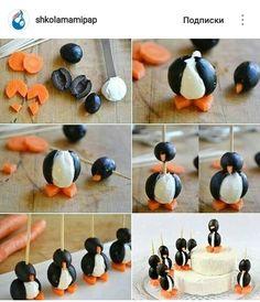 Пингвинята из маслин, моркови и творожного сыра