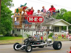 H-E-B Stores uses a Texas-sized hot rod shopping cart to promote its brand at parades and other events. The giant cart is gas-powered and can be driven like a car