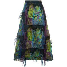 Litkovskaya Green Frayed Tropic Midi Skirt ($515) ❤ liked on Polyvore featuring skirts, holiday skirts, a line midi skirt, slit skirt, blue a line skirt and floral print midi skirt