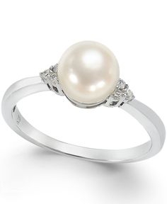 Cultured Freshwater Pearl (7mm) and Diamond Accent Ring in 14k White Gold