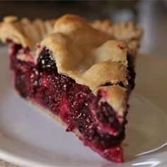 Blackberry Pie I - halve the amount of sugar and flour in the recipe, it wasn't needed.  Not a bad recipe