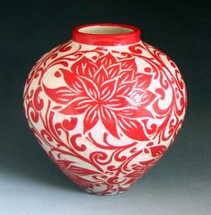 Because you can never have too many ceramics. Hand-thrown porcelain red lotus vase. Made in Eugene, Oregon. $275