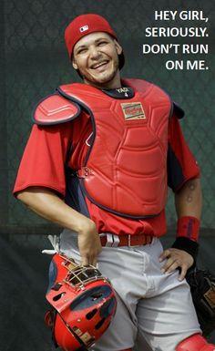 Look at Yadier Molina smile! St Louis Baseball, St Louis Cardinals Baseball, Stl Cardinals, Baseball Mom, Yadier Molina, Hockey, Baseball Players, Basketball, Cardinals Wallpaper