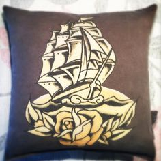 Pop Art Ship pillow made from a mens repurposed graphic tee