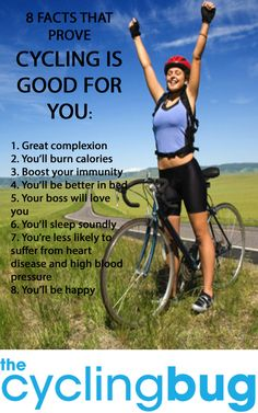 8 facts that prove cycling is good for you. CLICK HERE TO FIND OUT MORE: http://thecyclingbug.co.uk/bugfeed/top-lists/b/weblog/archive/2014/04/30/8-facts-that-prove-cycling-is-good-for-you.aspx?utm_source=Pinterest&utm_medium=Pinterest%20Post&utm_campaign=ad You may have heard people saying cycling is dangerous or is bad for you, but we think that is a load of rubbish... THECYCLINGBUG.CO.UK #thecyclingbug #cycling #bike