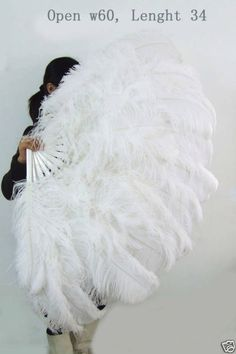 60'' Large XL 2 layer White Ostrich Feather Fan Burlesque dancer perform friend #hotfans