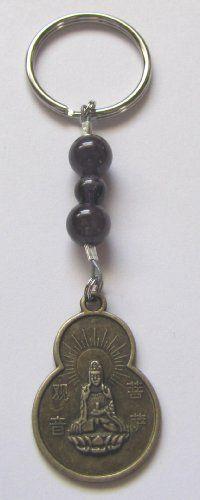 7th Chakra Amethyst Gemstone Quan Yin Buddha Blessings Coin Keychain Bag Charm