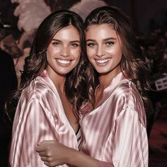Sara Sampaio and Taylor Hill at the Victoria's Secret Fashion Show 2015