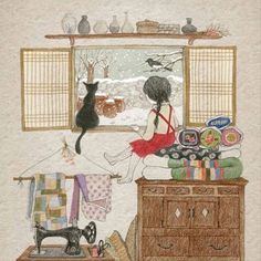 71 images about Cat and Me Illustration on We Heart It Art And Illustration, Illustration Mignonne, Art Fantaisiste, Art Mignon, Korean Art, Whimsical Art, Crazy Cat Lady, Cat Art, Cute Drawings