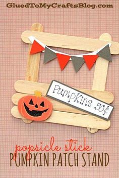 Cute idea for Halloween speech therapy! Popsicle Stick Pumpkin Patch Stand - With this craft, you can really let kids explore their creative side as they make their own Scary Halloween Crafts, Fete Halloween, Halloween Activities, Vintage Halloween, Halloween Ideas, Popsicle Stick Crafts, Craft Stick Crafts, Preschool Crafts, Fun Crafts