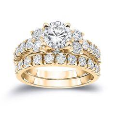 Auriya 14k Gold 1 1/2 ct TDW Round Diamond 5-Stone Wedding Ring Set