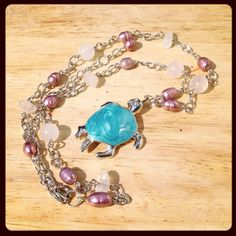 Turquoise Sea Turtle Pendant Necklace with Purple by JewelsofJane, $18.00