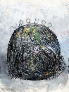 HUGO GAUDET-DION, Du gros fun noir, 2013, Crayon, pierre noire, acrylique, graphite et crayon de cire sur papier, 35,7 x 43,2 cm. Œuvre disponible à l'Encan-bénéfice du MACL, le 9 novembre 2014.