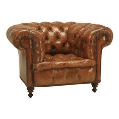 1 Finest Quality Antique Chesterfield Style Leather Handmade Wingback Armchair Rich And Magnificent Antique Furniture Sofas, Armchairs & Suites