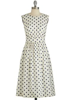 Too Much Fun Dress in White Dots -  #white #modcloth