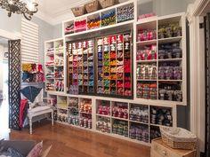 New Yarn Store in Toronto! Knitting Room, Knitting Storage, Yarn Storage, Craft Storage, Knitting Yarn, Wool Shop, Yarn Shop, Yarn Display, Yarn Organization