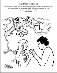 Adam and Eve. Coloring page, script and Bible story. http://kidscorner.reframemedia.com/bible/stories/the-story-of-the-fall/