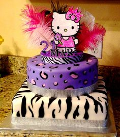 Birthday Cakes - Zebra and cheetah hello kitty birthday cake.  This is too cute.  sure would be nice for a 35th birthday, lol
