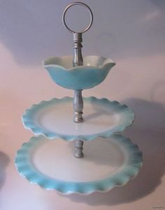 Hazel Atlas 3 Tier Serving Tray in Ripple Blue and White Up for Auction on eBay Bygoneoldies