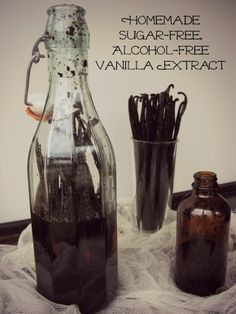 Alcohol-free, sugar free vanilla extract.  16 oz food grade vegetable glycerine (NOW brand) 8 Vanilla Beans Tall glass bottle, at least 17 oz Sharp paring knife Smaller bottles for when it's done  Put them in a dark place for 6 weeks, that's it!