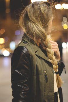 Side Braid & Military jacket #7LooksFallChallenge