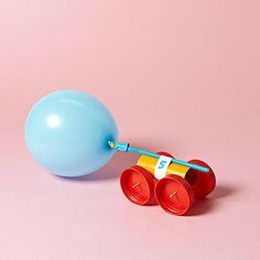 Get ready to race -- inflate this car's balloon and set it down: the expelled air will make it go!