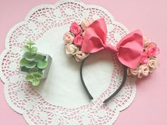 Youll be the envy of the Kingdom with these adorable Sleeping Beauty/Aurora inspired Minnie Mouse ears! Handmade with lots of love.  One size