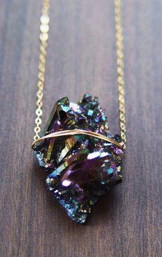 Titanium Druzy Necklace One of a Kind por friedasophie en Etsy