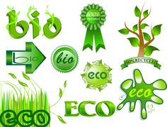 Set of green bio and eco labels and ribbons including grass, tree, arrows and badges illustrations. Eps Vector, Vector Graphics, Vector Free, Ecology Design, Eco Label, Green Theme, Layout Template, Create A Logo, Graphic Art