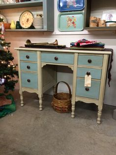 Charming little desk, painted with Annie Sloan Chalk Paint (Country Grey body & Duck Egg Blue drawers) and finished with clear & dark wax. Sold.