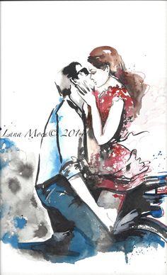 Wanderlust voyage amour Romance aquarelle peinture  par LanasArt