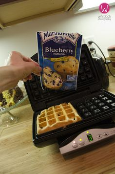 waffles from muffin mix, just add extra water to thin the muffin mix down to pancake batter consistency