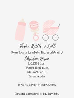 Shake Rattle and Roll Baby Shower Invitation Printable Boy Girl Pink Blue by FreelyFatimaDesigns on Etsy