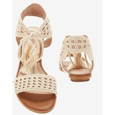 Joie Jolee Crochet Ankle Tie Flat Sandal (12,185 PHP) ❤ liked on Polyvore featuring shoes, sandals, flat sandals, cream sandals, flat ankle strap shoes, joie sandals and boho shoes