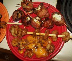 Bacon Duck Wraps & Shrimp.