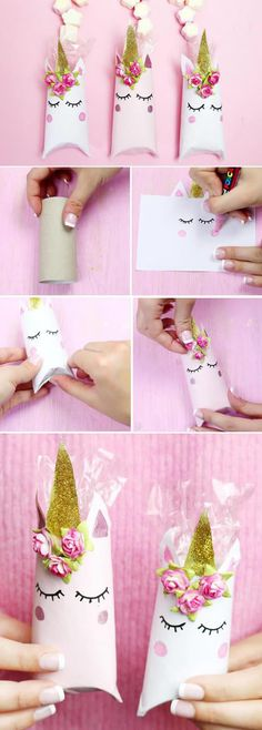 Einhorn Schachtel aus Klopapierrollen falten – Schnelle DIY Geschenkverpackung… Unicorn box made of toilet paper rolls – Fast DIY gift wrapping! These boxes are really lightning self made and I think the idea with the toilet paper rolls totally great. Kids Crafts, Diy And Crafts, Paper Crafts, Creative Crafts, Toilet Paper Roll Diy, Toilet Roll Craft, Diy Paper Bag, Unicorn Crafts, Unicorn Diys