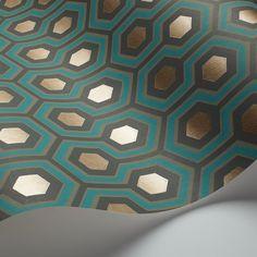 Hicks' Hexagon by Cole & Son - Blue & Gold - Wallpaper : Wallpaper Direct