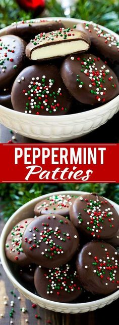 This homemade peppermint patties recipe is the ultimate holiday treat and is always such a favorite with my family during the holidays. A creamy peppermint center is surrounded by dark chocolate and topped with sprinkles.