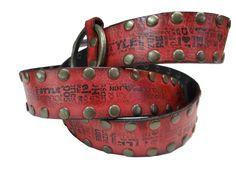 Cinto de cuero con tachas intervenido.  www.lannot.com.uy