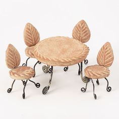 Handcrafted Miniature Clay Table and Chair Set