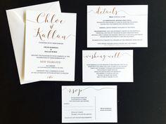 Rose Gold Foil & Black Ink Mix Invitation Suite - RSVP - Wishing Well - Details card